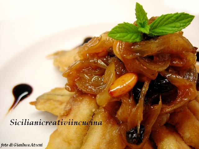 alici fritte con cipollata agrodolce