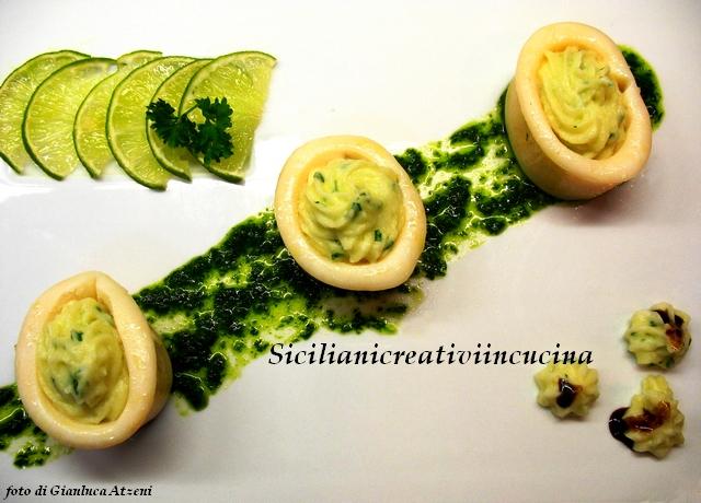 calamari al vapore ripieni di purea di patate