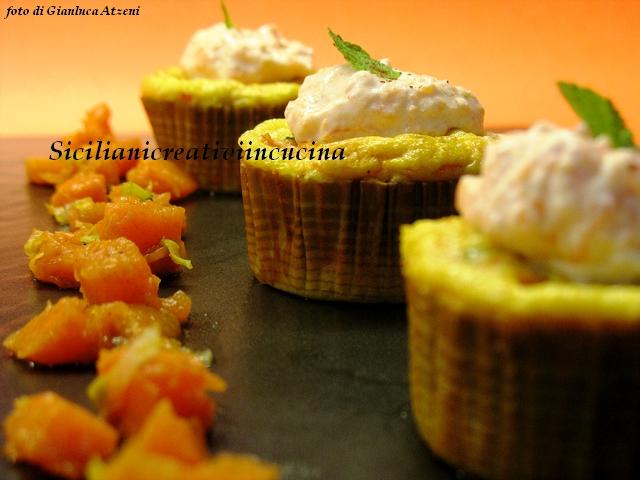 tortini di zucca, porri, cannella e gorgonzola