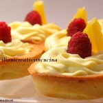 Shortbread tarts with orange and raspberry chantilly
