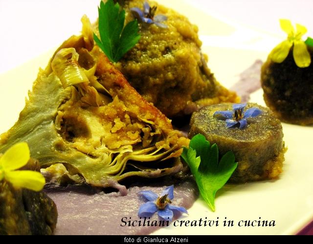 carciofi alla romana con patate viola