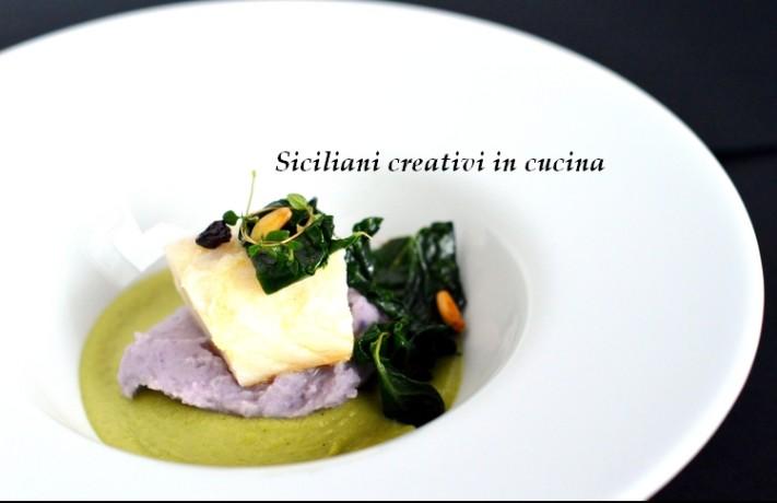 baccalà con patate e crema di broccoli