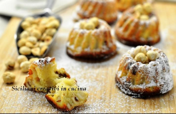 mini cake di nocciole, uvetta e pere nashi