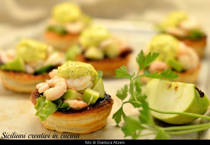 Insalata di gamberi e mela verde con maionese al prezzemolo