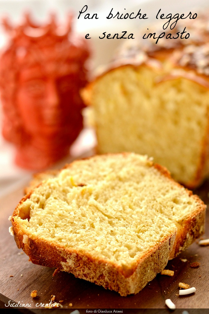 Pan brioche con lievito di birra e senza impasto, facile da preparare, con pochissimo lievito di birra  e poco burro.